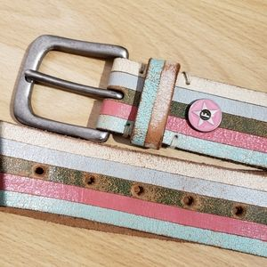 FOSSIL striped leather belt